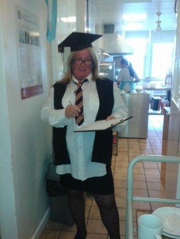 Beryl wearing her Mossgiel PS tie. I remember it well!